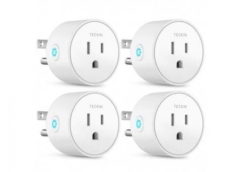Smart Plug Works with Alexa Google Assistant IFTTT for Voice Control, Teckin Mini Smart Outlet Wifi